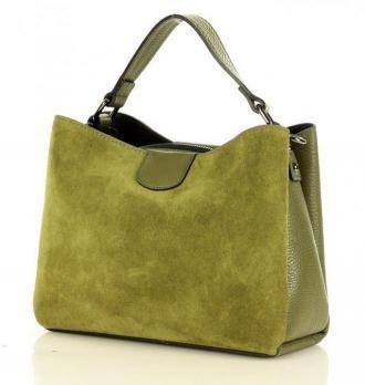 MARCO MAZZINI Elegancki kuferek skórzana listonoszka camera bag nubuk leather zieleń militare