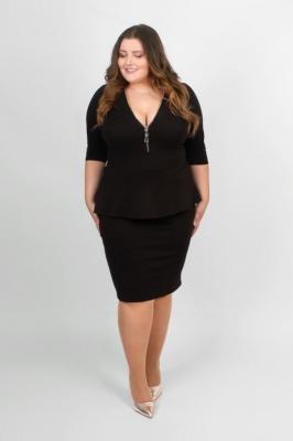 HOLLY BLACK wyszczuplająca sukienka z baskinką : Rozmiar - 56/58