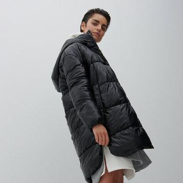Reserved - Pikowany płaszcz z kapturem - Czarny