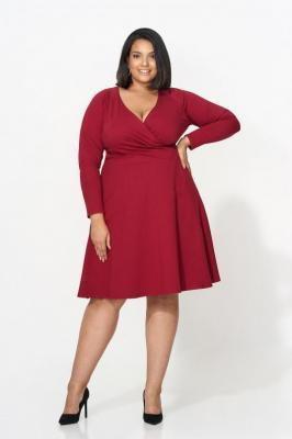 BRENDA WINE rozkloszowana sukienka plus size : size - 56/58