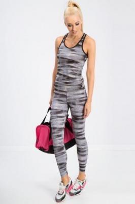 Czarne legginsy we wzory H001