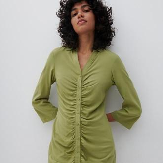 Reserved - Koszulowa sukienka - Zielony