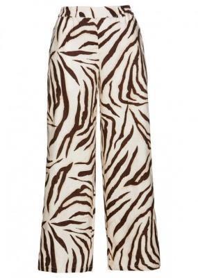 Spodnie lniane bonprix brązowo-kremowy w paski zebry