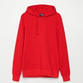 Cropp - Bluza basic z kapturem - Czerwony