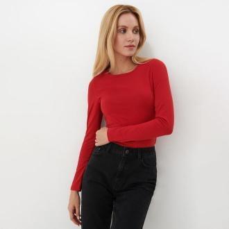 Mohito - Bawełniana bluzka basic - Czerwony