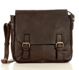 Torba męska na ramię skóra handmade messenger bag - MARCO MAZZINI ciemny brąz caffe