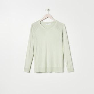 Sinsay - Sweter z dekoltem w serek - Zielony