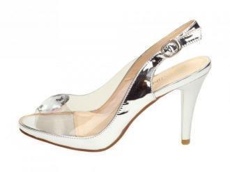 Srebrne sandały damskie, szpilki SABATINA 1101