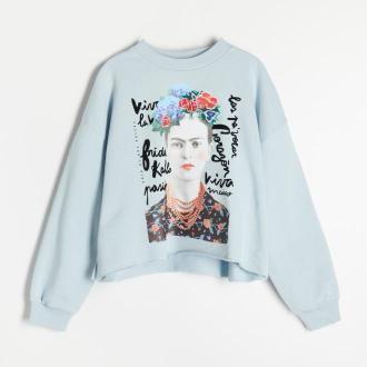 Reserved - Bawełniana bluza Frida Kahlo - Niebieski