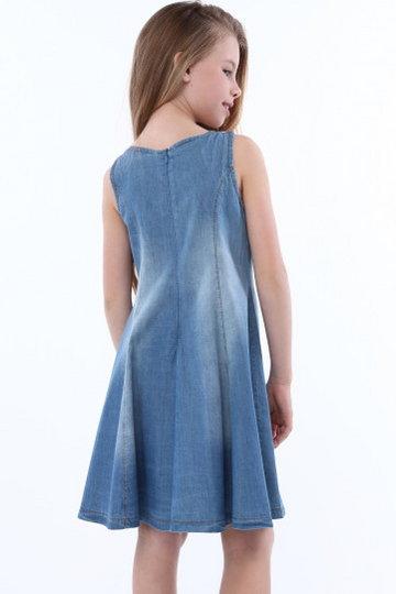 Sukienka dziewczęca jeansowa z naszyjnikiem NDZ3104