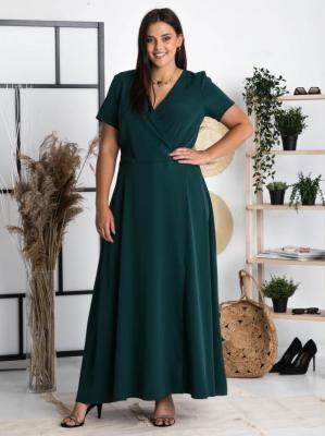 Sukienka plus size długa z kopertowym dekoltem FIOMENA long butelkowa zieleń