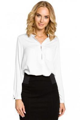 Biała Koszulowa Bluzka ze Stójką