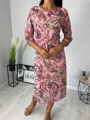 Pudrowa Sukienka w Kwiaty 6376-402-C