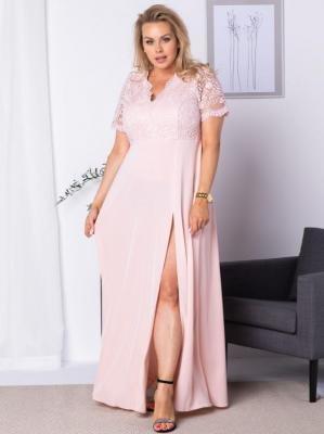 Sukienka długa z koronkowym karczkiem MELANIA puder róż