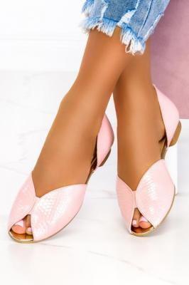 Różowe baleriny lakierowane z odkrytymi palcami polska skóra Casu 07851/1484/1993/00/00