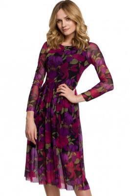 Rozkloszowana sukienka z siateczki w kwiaty