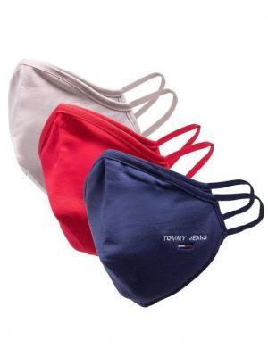 Tommy Jeans Zestaw 3 maseczek materiałowych Tjm Face Cover 3-Pack AM0AM07682 Granatowy