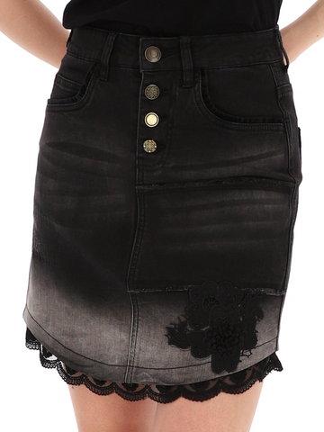 Czarna spódnica jeansowa z koronką Desigual BLANCHE