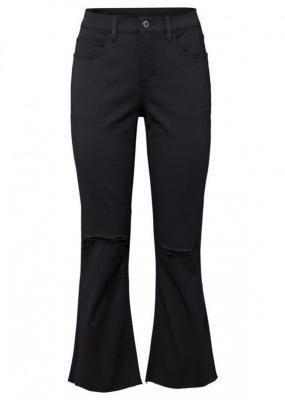 Spodnie dzwony 7/8 ze stretchem, bawełna organiczna bonprix czarny
