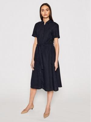 Tommy Hilfiger Sukienka koszulowa Abo Linen WW0WW32435 Granatowy Regular Fit