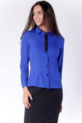 Klasyczna Kobaltowa Taliowana Koszula z Czarną Taśmą przy Guzikach