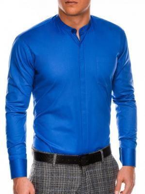 Koszula męska elegancka z długim rękawem K307 - niebieska - XXL