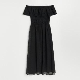Reserved - Sukienka z dekoracyjnym dekoltem - Czarny