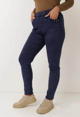 Granatowe Spodnie Skinny Jenestren