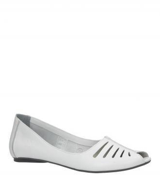 Białe baleriny skórzane z odkrytymi palcami Maciejka 03497-11/00-6