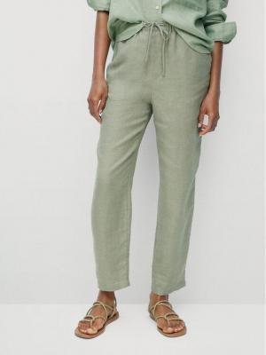 Mango Spodnie materiałowe Linen 87047878 Zielony Regular Fit