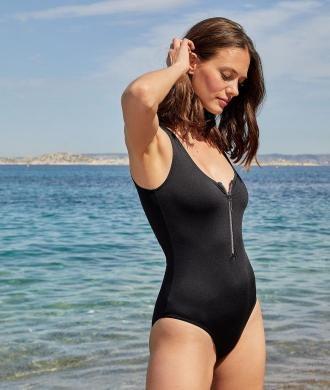 Sense Jednoczęściowy Kostium Kąpielowy Z Suwakiem - 44 - Czarny - Etam