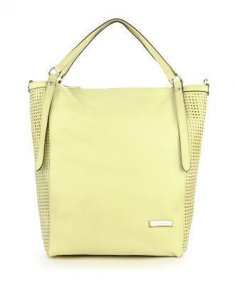 Limonkowa torebka typu shopper ze skóy licowej MALTANO