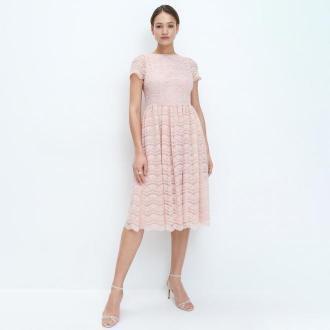 Mohito - Koronkowa sukienka midi - Różowy