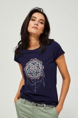 T-shirt granatowy z nadrukiem mandala