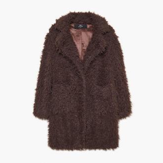 Cropp - Futrzany płaszcz - Brązowy