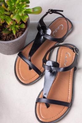 Czarne sandały japonki płaskie