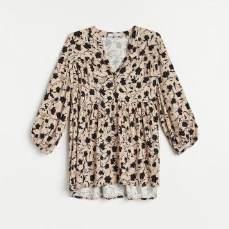 Reserved - Wzorzysta bluzka z EcoVero™ - Czarny