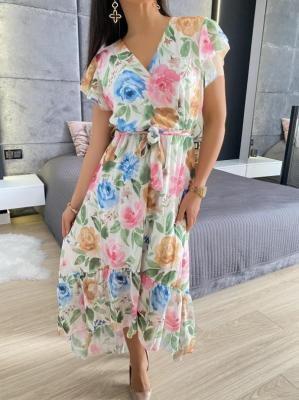 Kremowa Asymetryczna Sukienka w Kwiaty 6072-112-A