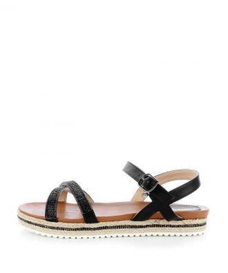 Czarne sandały z brokatem