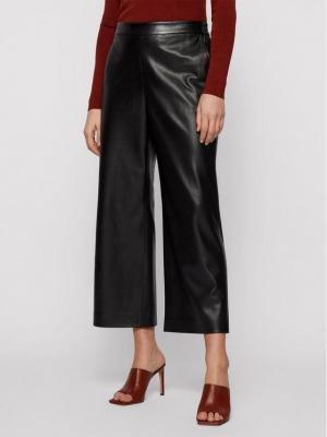 Boss Spodnie skórzane Taomie 50447662 Czarny Regular Fit