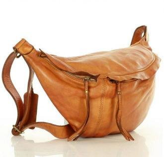 MARISA Uniwersalna torebka nerka półksiężyc crossbody runway - skóra naturalna Marco Mazzini camel