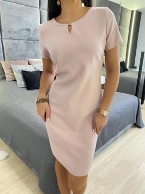 Pudrowa Klasyczna Sukienka 5759-322-E