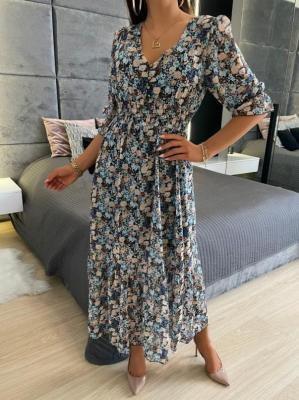 Sukienka Maxi z Motywem Kwiatowym 6193-60