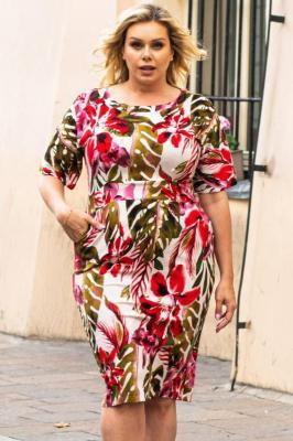 Sukienka letnia uciągliwa z bawełny ołówkowa z kieszonkami MADEO zielono-różowy print na białym