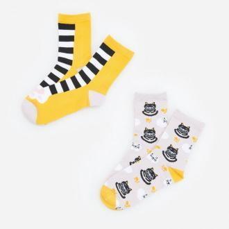 Reserved - Skarpety ze wzorem 2 pack - Żółty