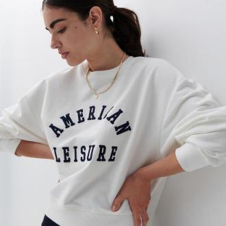 Reserved - Bawełniana bluza z nadrukiem - Kremowy