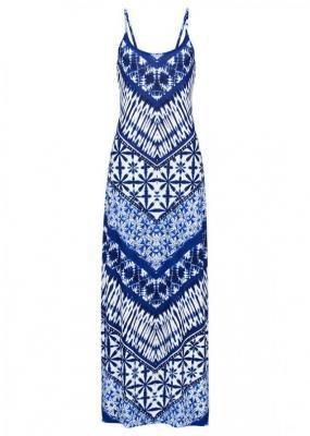 Długa sukienka z nadrukiem bonprix niebieski batikowy