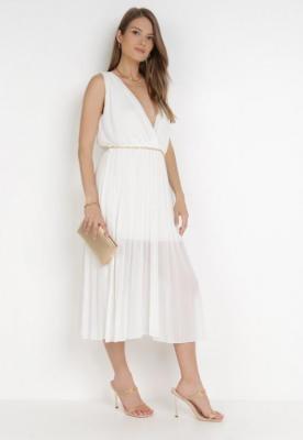 Biała Sukienka Z Paskiem Hysacia