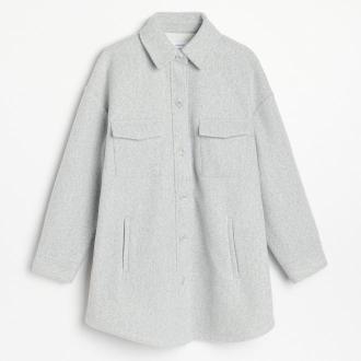 Reserved - Kurtka koszulowa z kieszeniami - Jasny szary