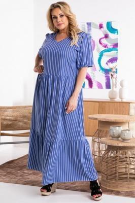 Sukienka letnia bawełniana z falbanką długa RENATKA niebieska białe paski